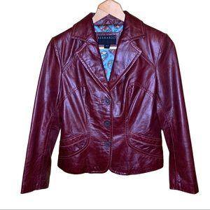 Bernardo Leather Oxblood Jacket Size Small P